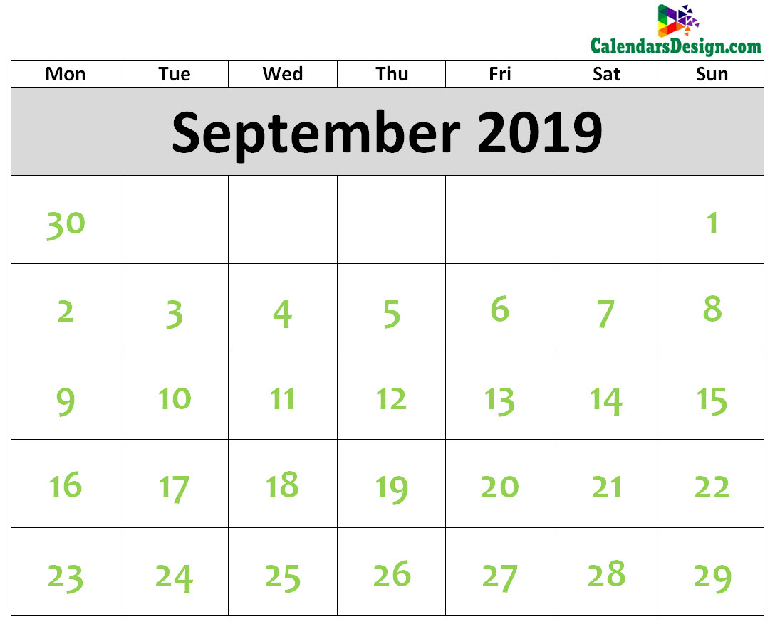 2019 September Calendar Printable Template