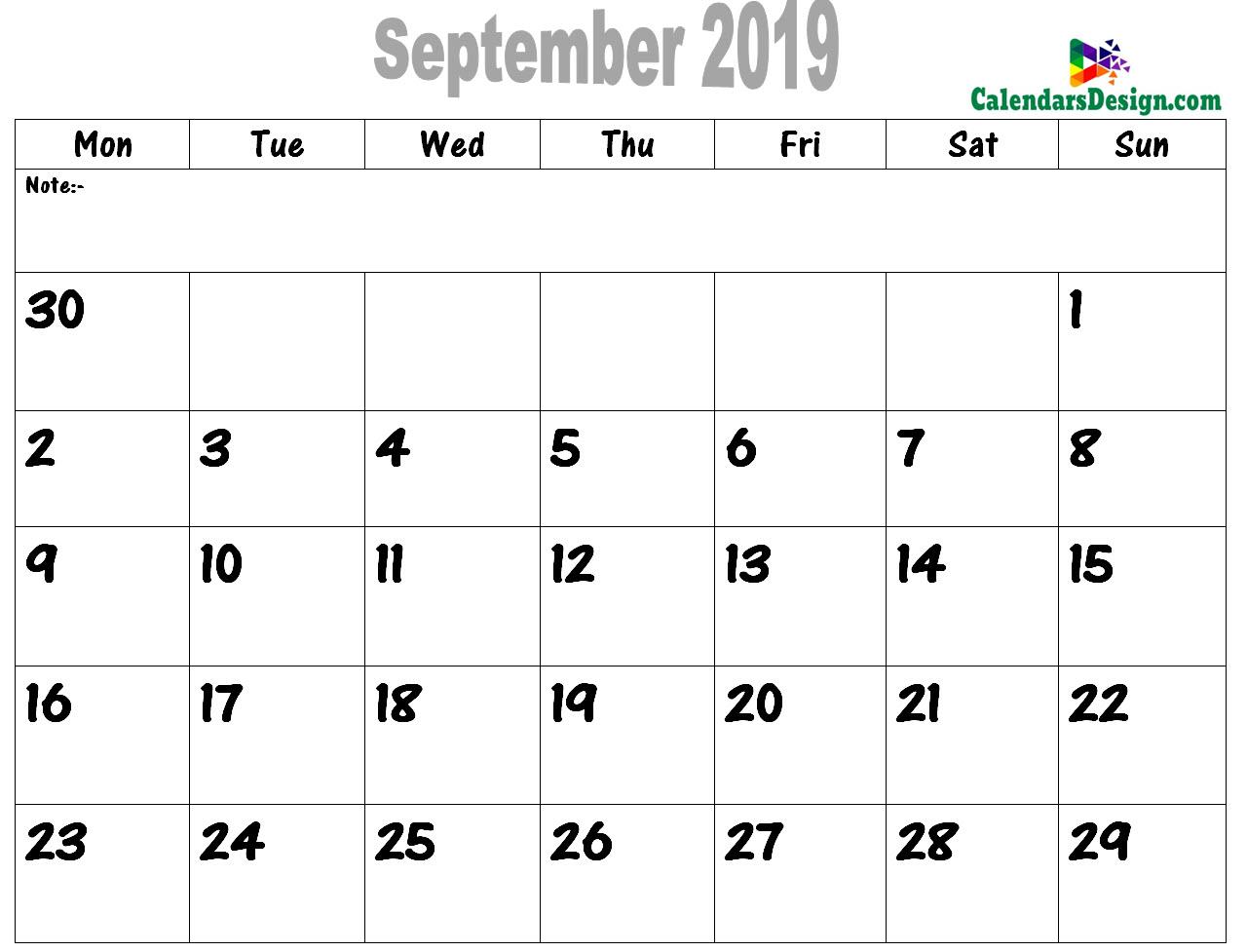 2019 September Printable Calendar PDF