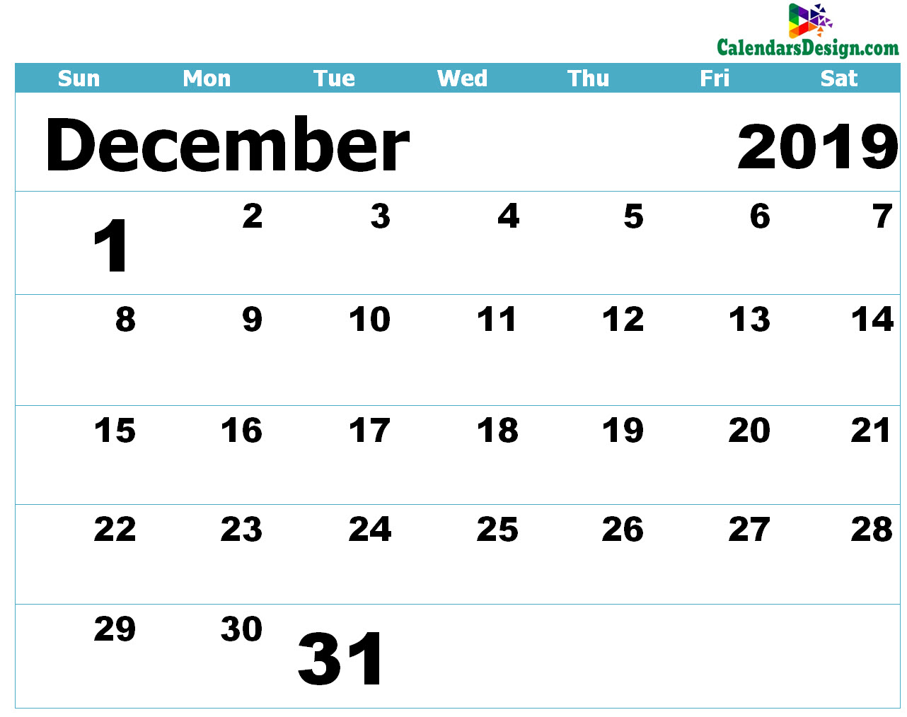 December 2019 Calendar Blank Template