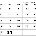 December 2019 Calendar in PDF