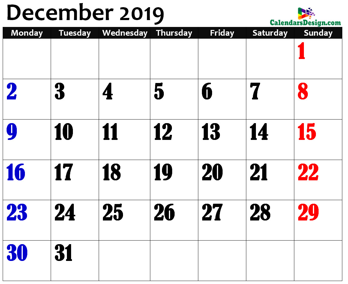December 2019 Calendar in Page