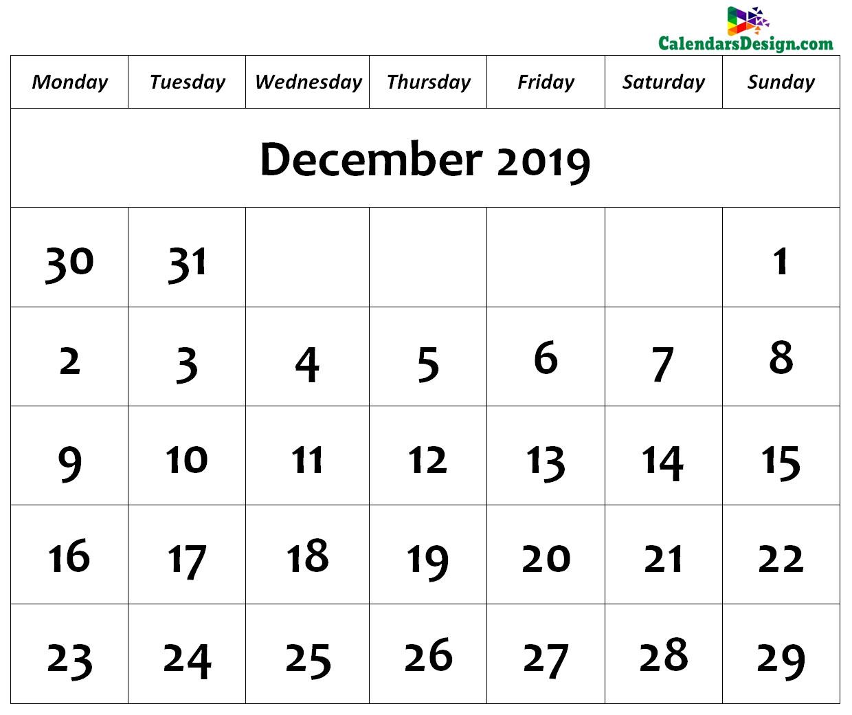 December Calendar 2019 Page