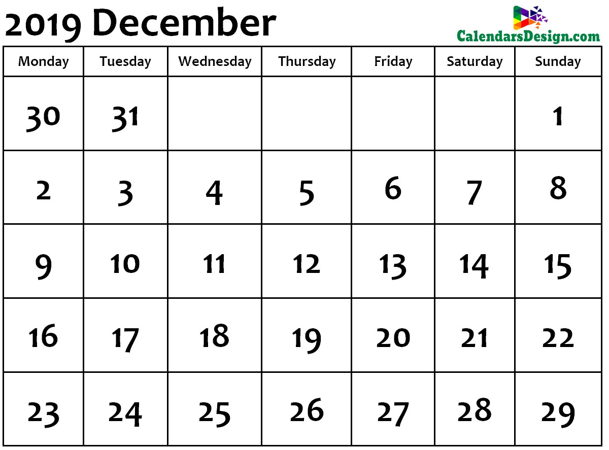 December Calendar 2019 Word Format