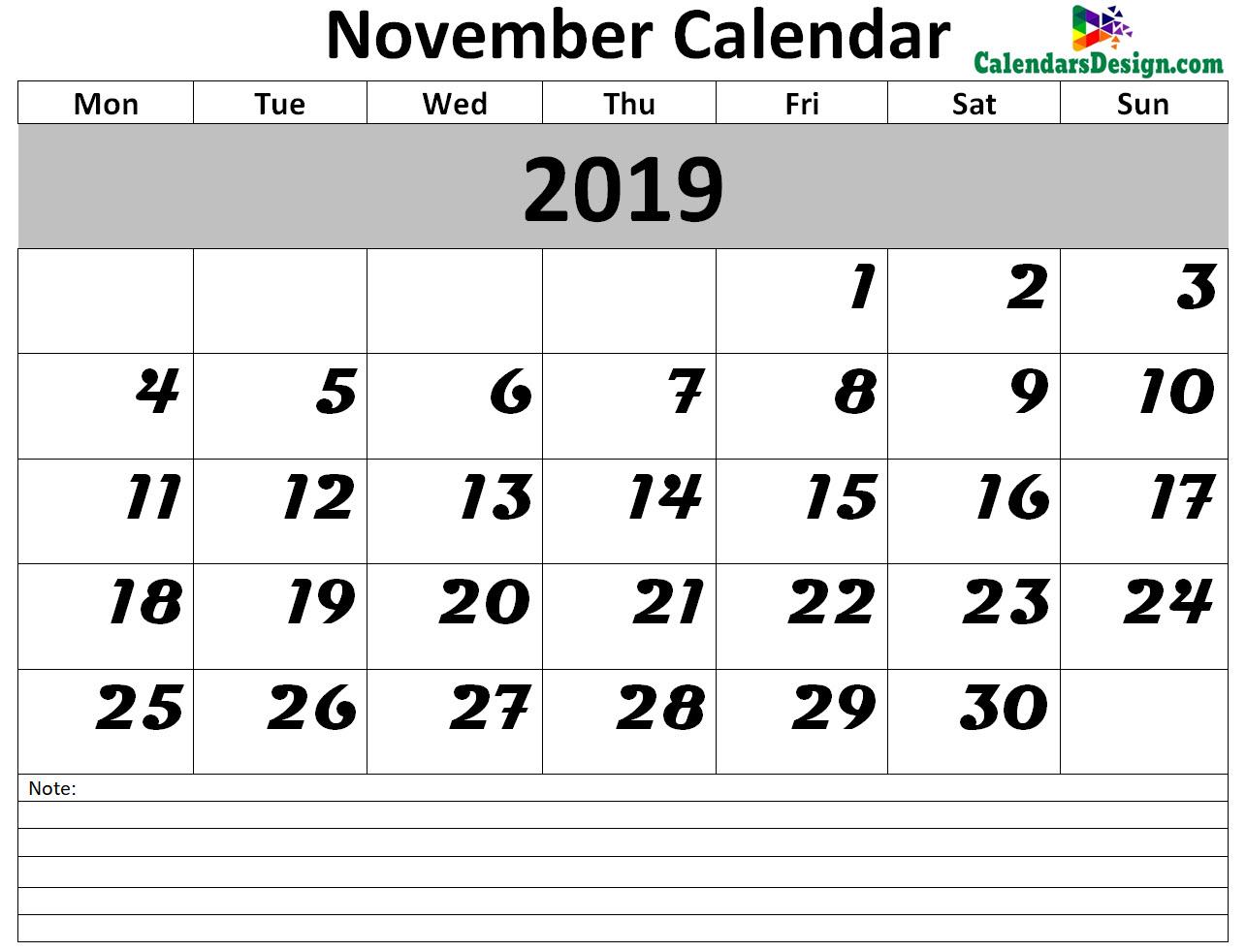 November 2019 Calendar Blank Template
