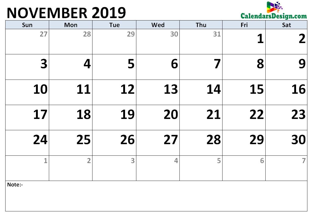 November 2019 Calendar Word Doc