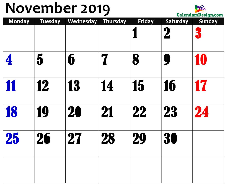 November 2019 Calendar in Page