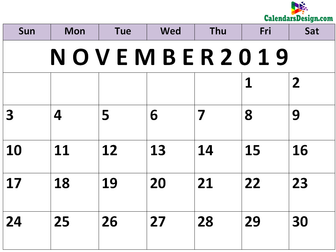 picture regarding November Calendar Printable Pdf titled November Calendar 2019 PDF - Totally free 2019 Printable Calendar