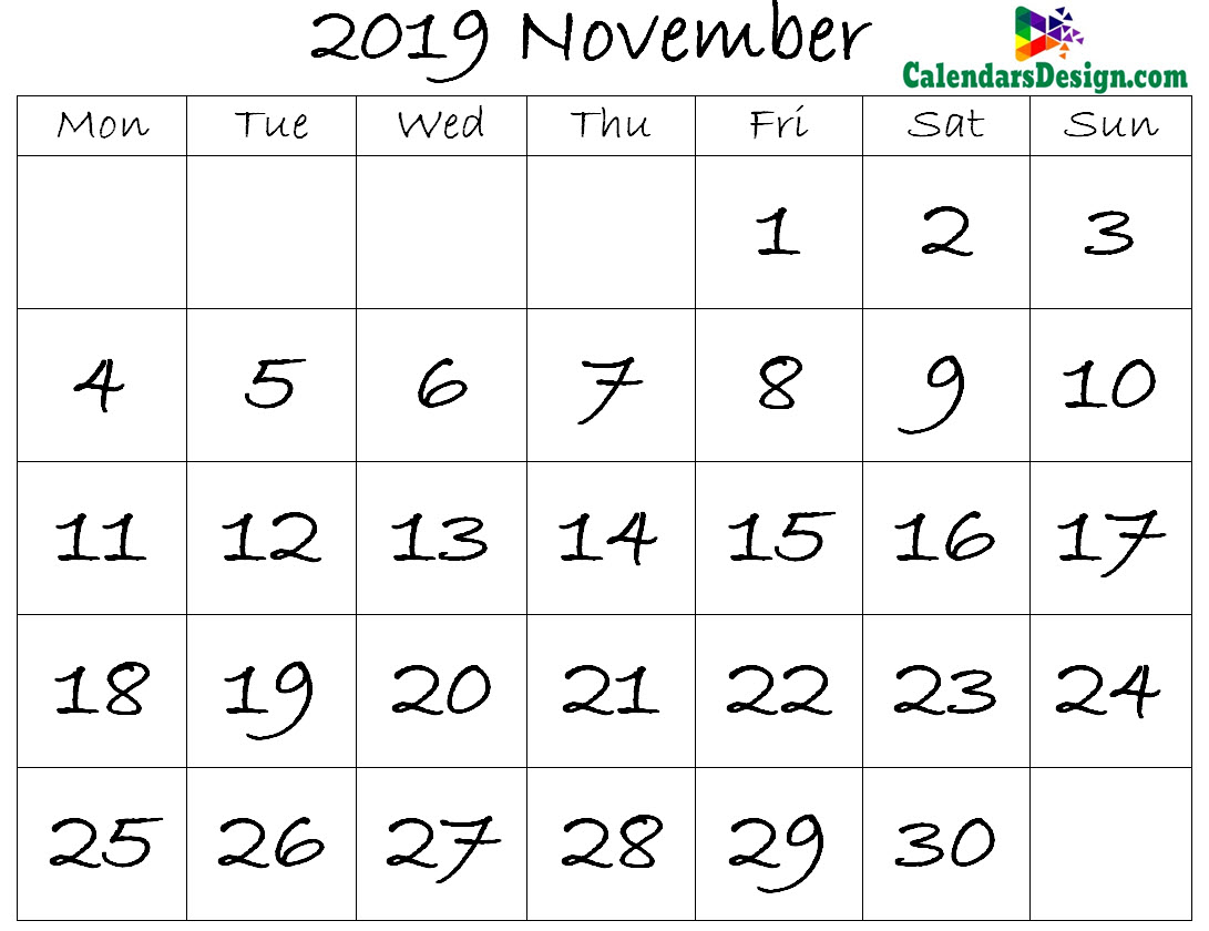 November Calendar 2019 Template