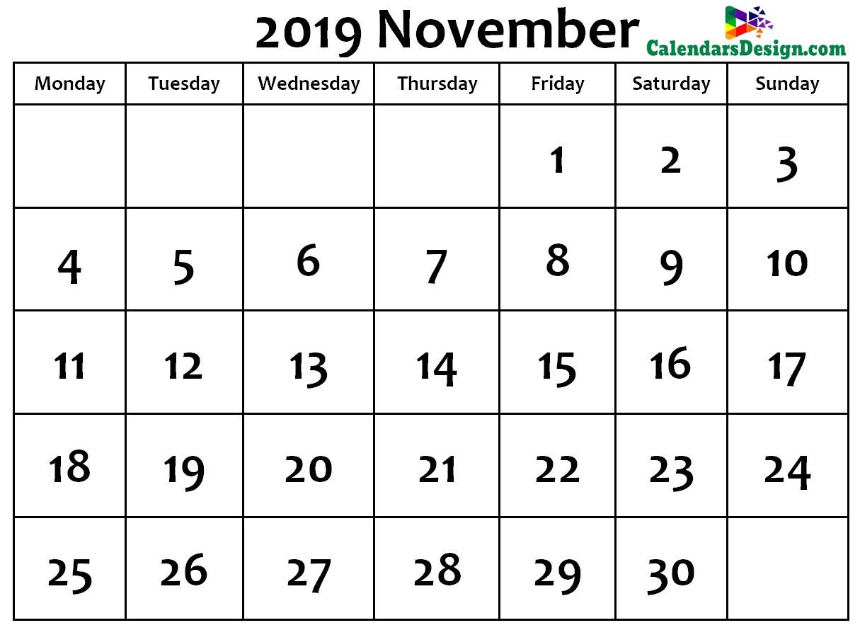 November Calendar 2019 Word Format