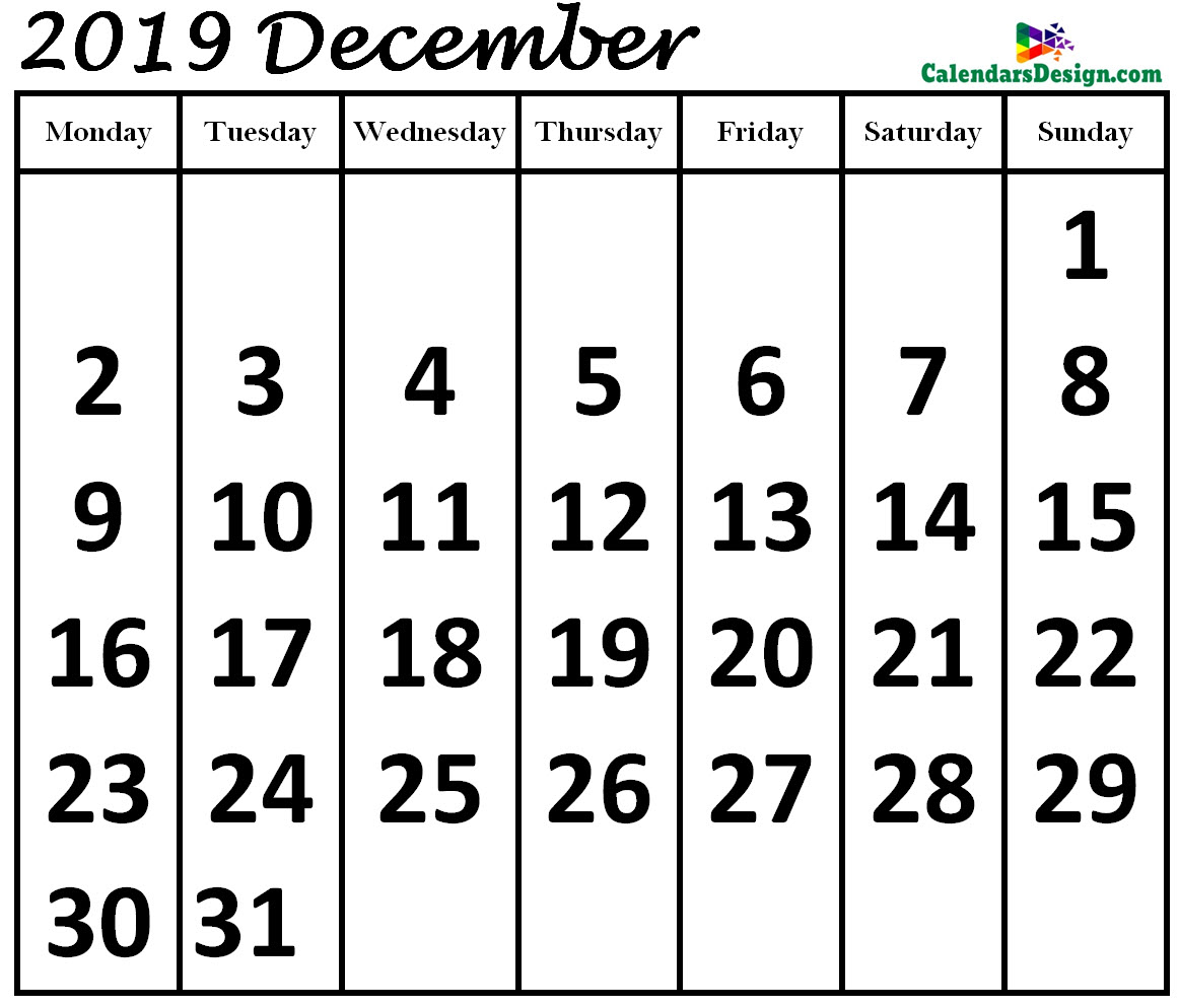 Print December 2019 Calendar in Page Format