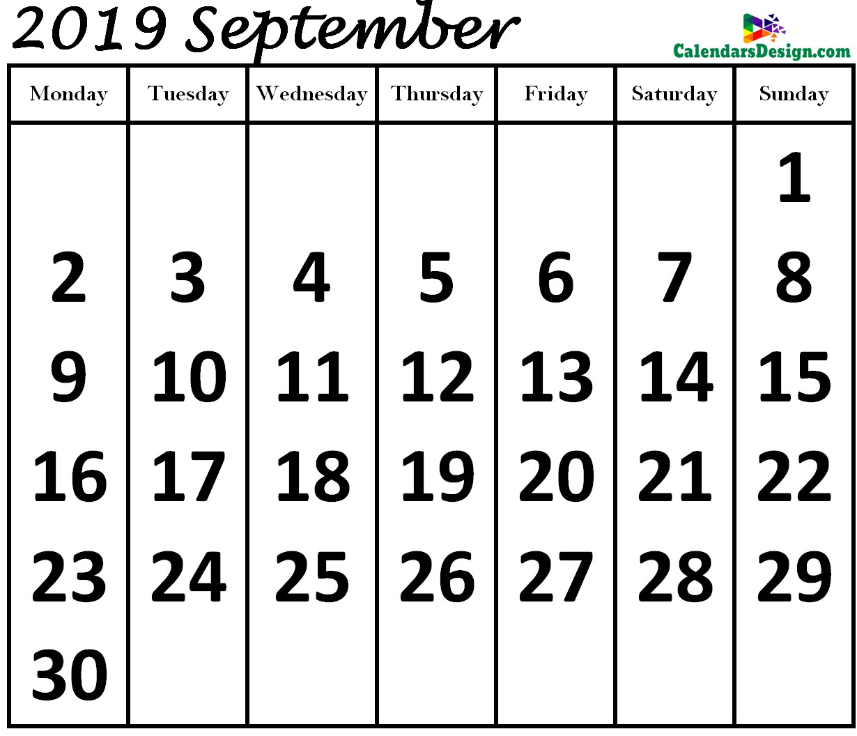 Print September 2019 Calendar in Page Format