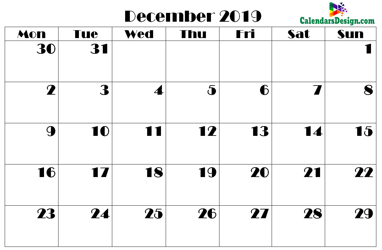 picture about Nov Calendar Printable Pdf named Printable Calendar for December 2019 PDF - Totally free 2019