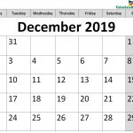 Printable Calendar for December 2019 Page