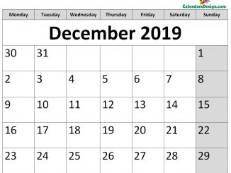 Printable Calendar for December 2019 Page