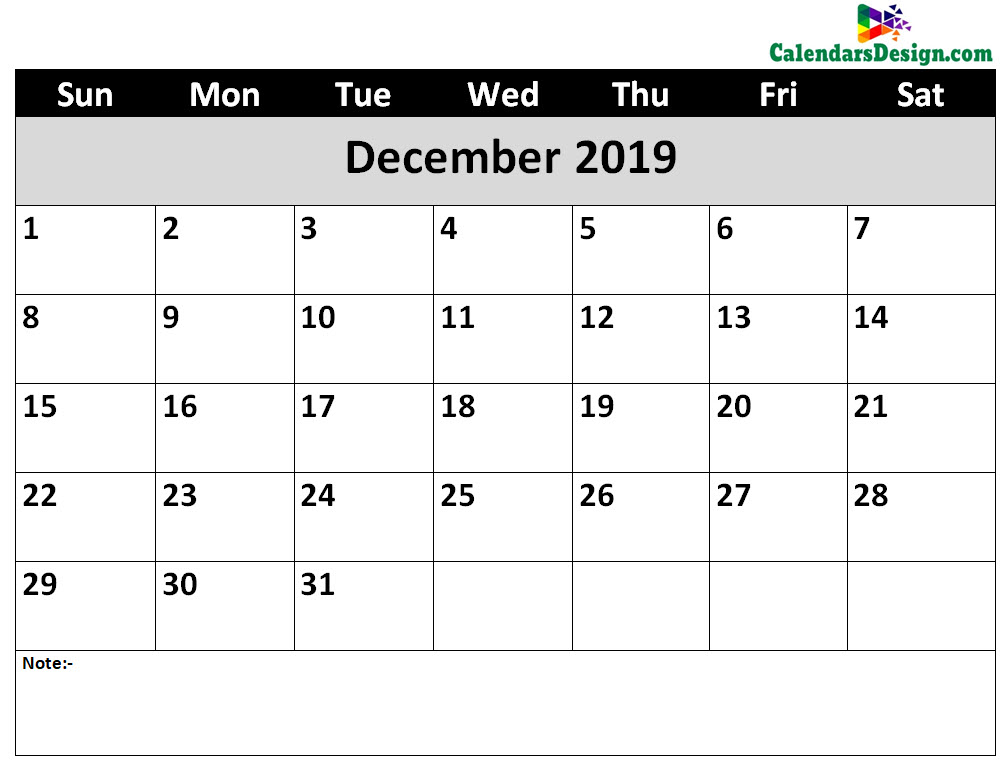 Printable Calendar for December 2019 Word