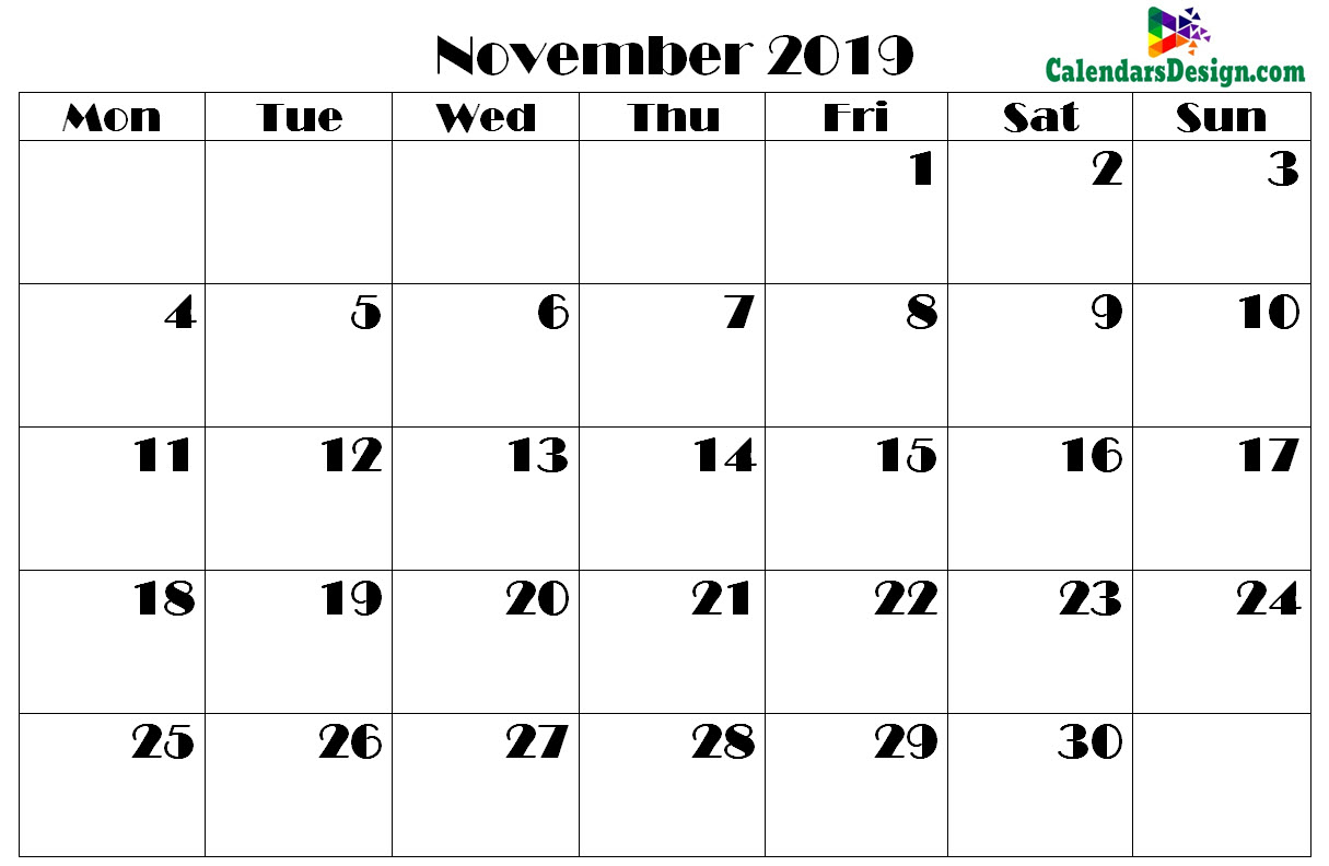 photo about Printable Calendar November identify No cost 2019 Printable Calendar, Templates, Vacations
