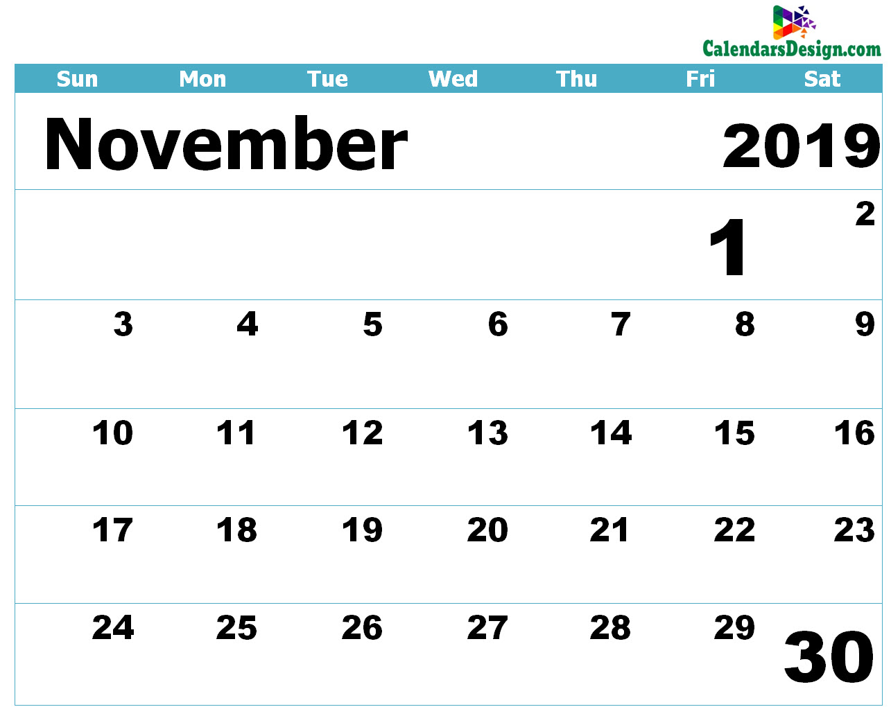 photograph relating to Printable Calendar for November referred to as Printable Calendar for November 2019 Templates - Cost-free 2019