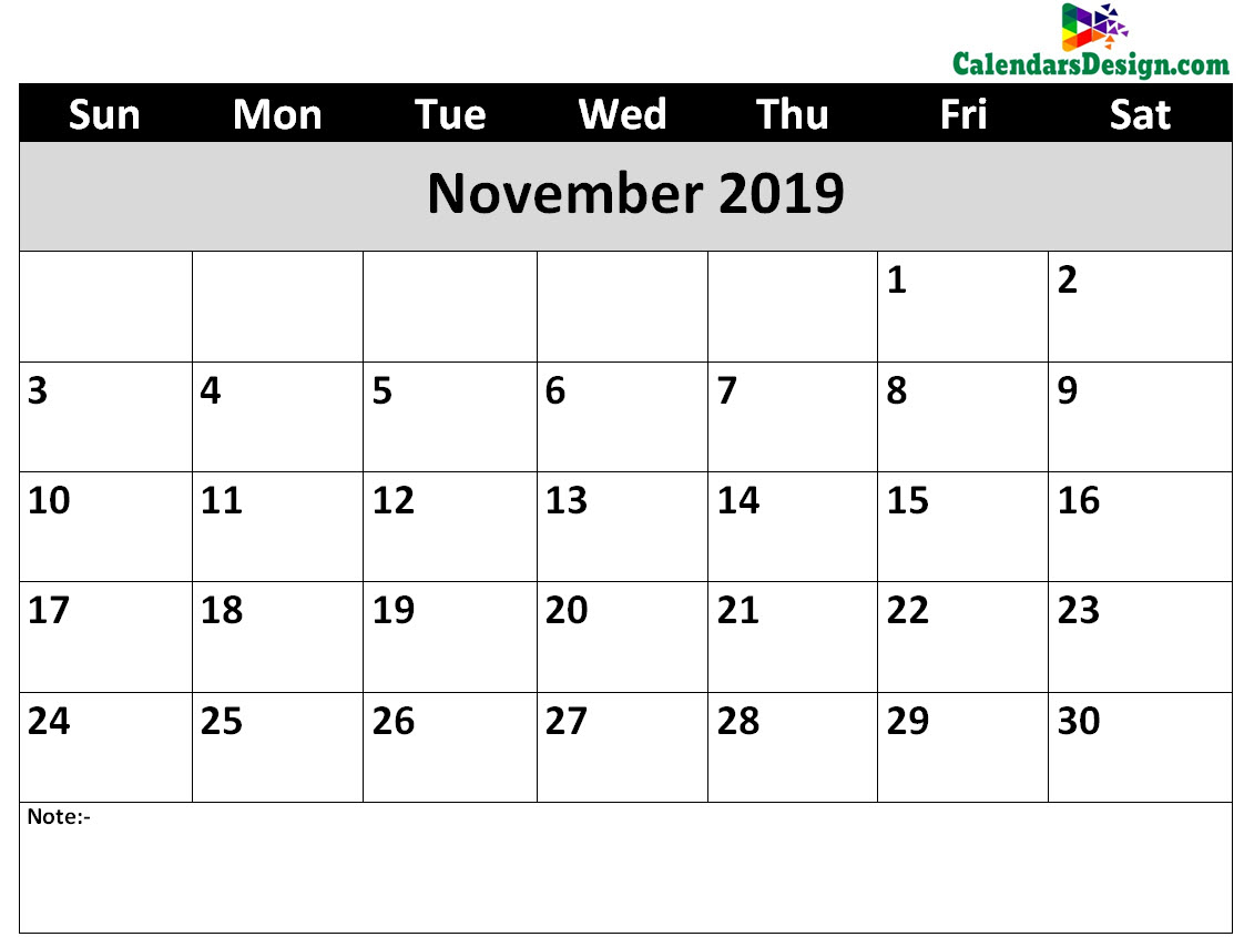 image relating to November Printable Calendar named Printable Calendar for November 2019 Term - No cost 2019