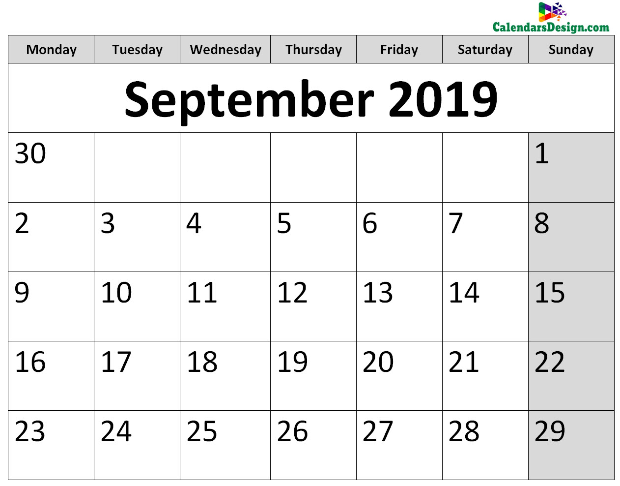 Printable Calendar for September 2019 Page