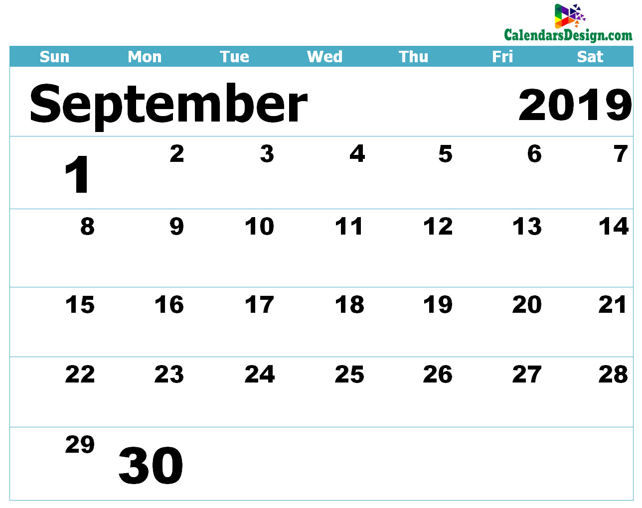 Printable Calendar for September 2019 Templates