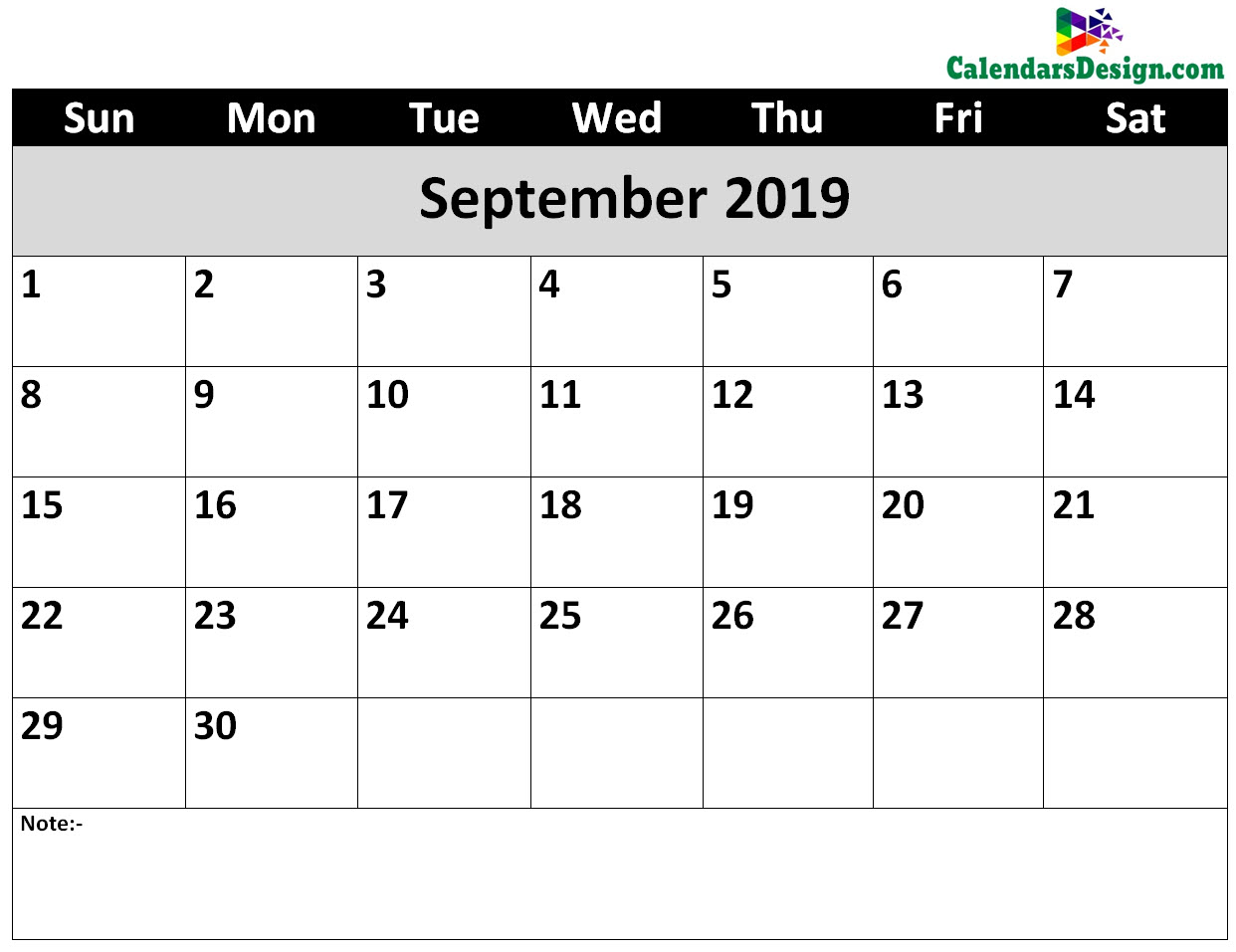 Printable Calendar for September 2019 Word