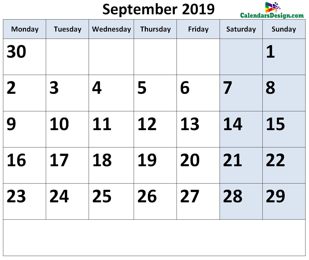 September 2019 Calendar Page