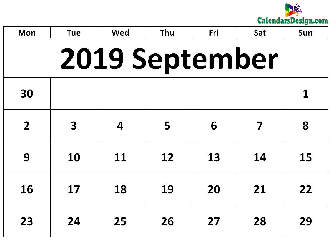 picture relating to Printable Calendar Templates named September 2019 Calendar Template - Cost-free 2019 Printable