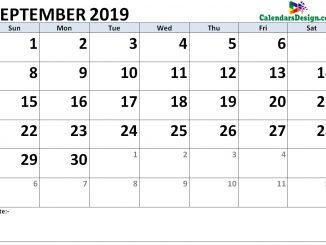 September 2019 Calendar Word Doc