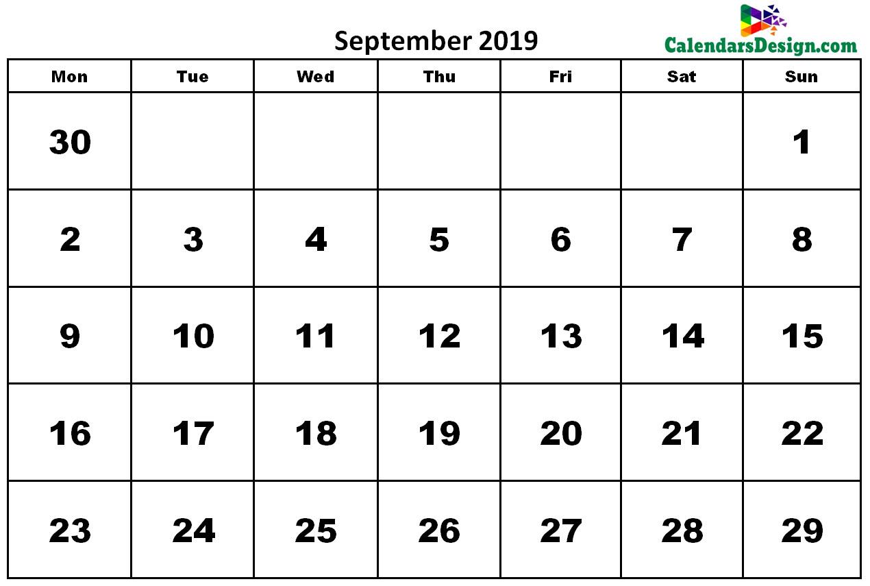 September 2019 Calendar Word