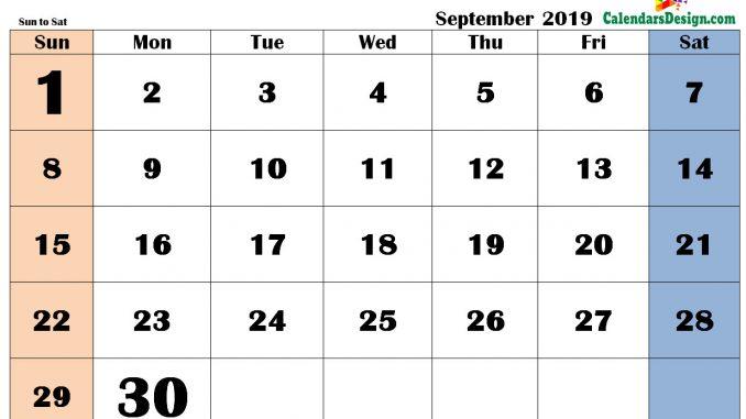 September 2019 Calendar in PDF