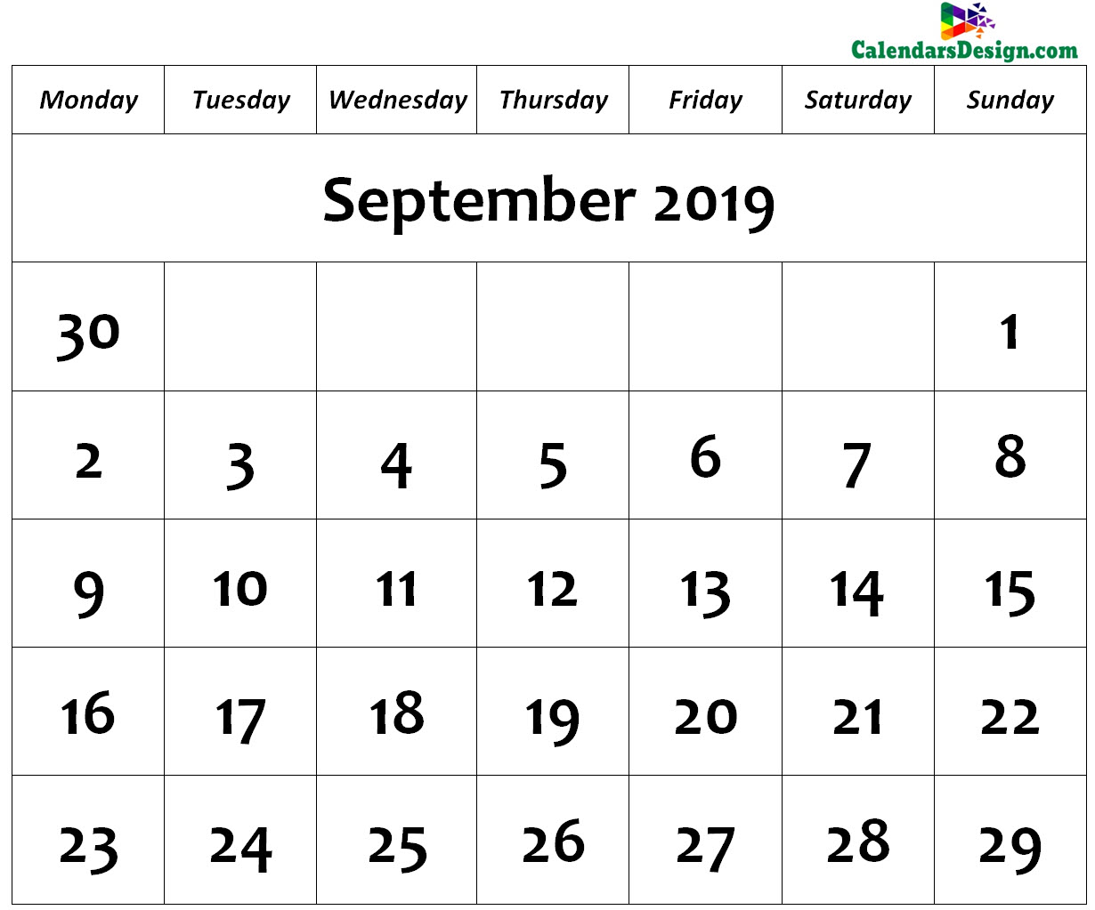 September Calendar 2019 Page