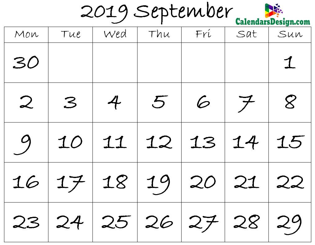 September Calendar 2019 Template