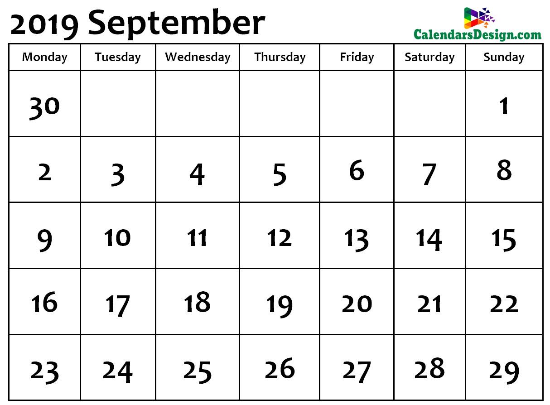 September Calendar 2019 Word Format