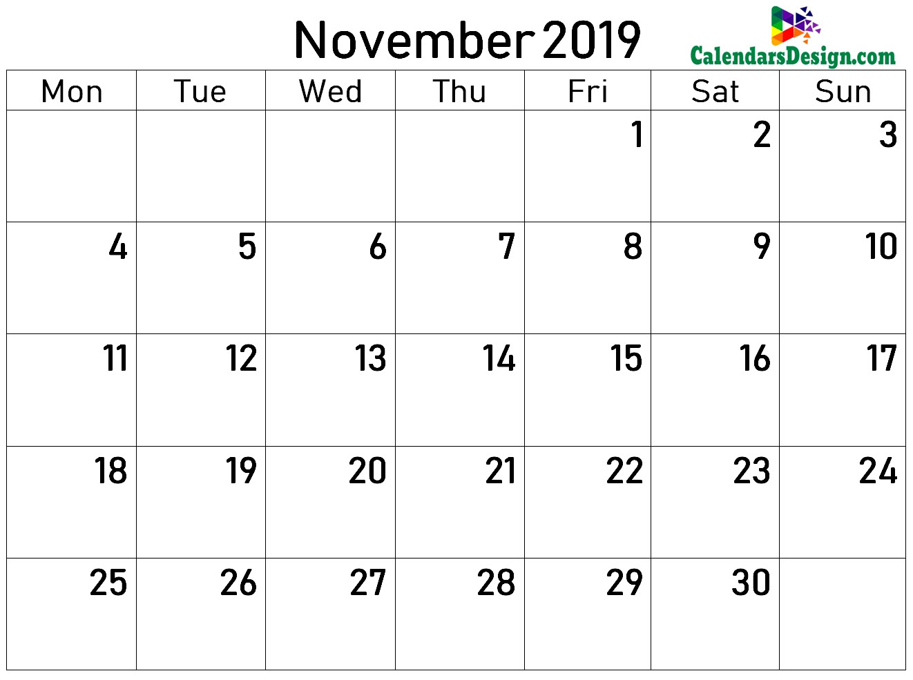 2019 Calendar November Excel Templates