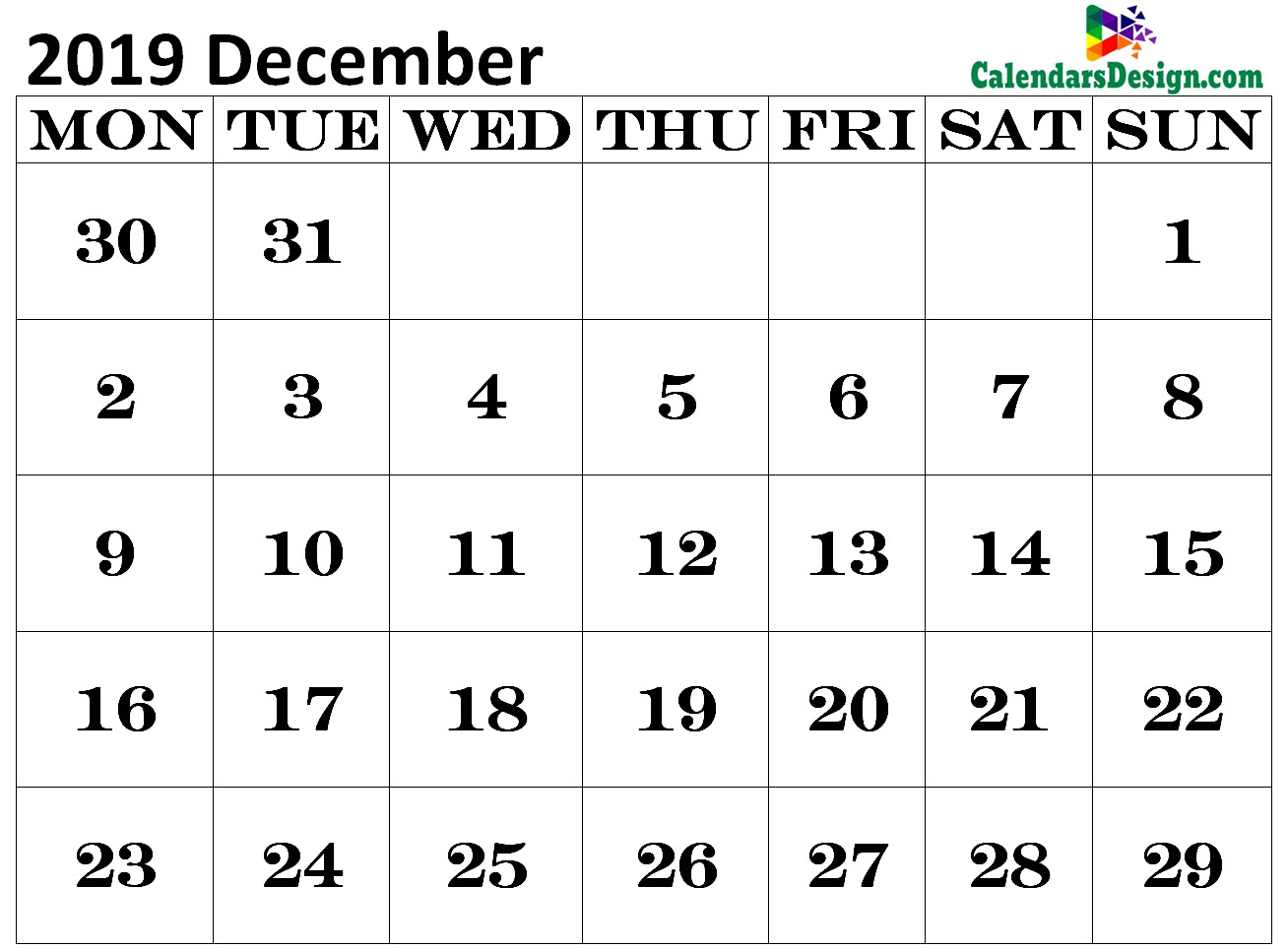 Calendar for December 2019 Excel to Print