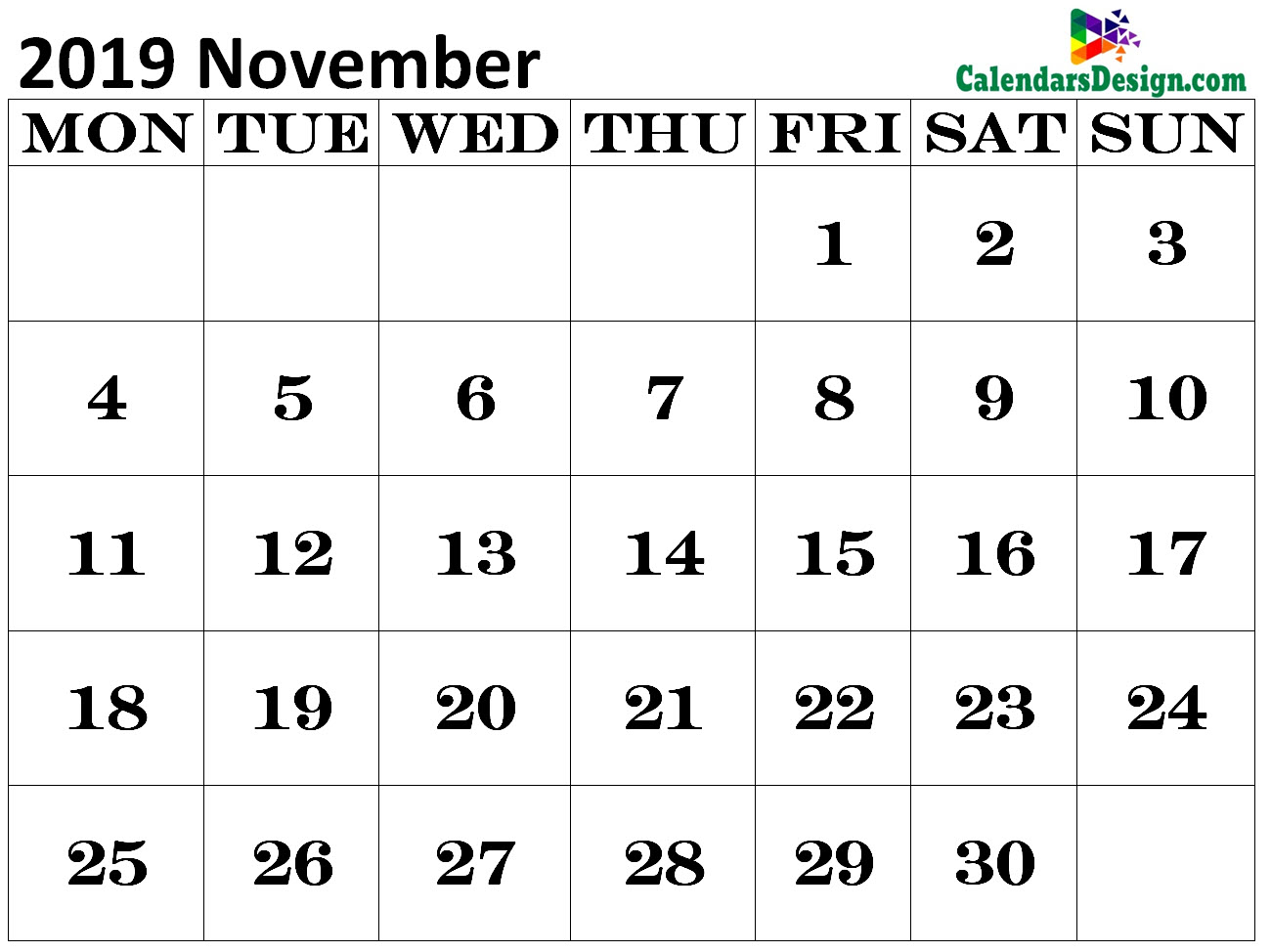Calendar for November 2019 Excel to Print