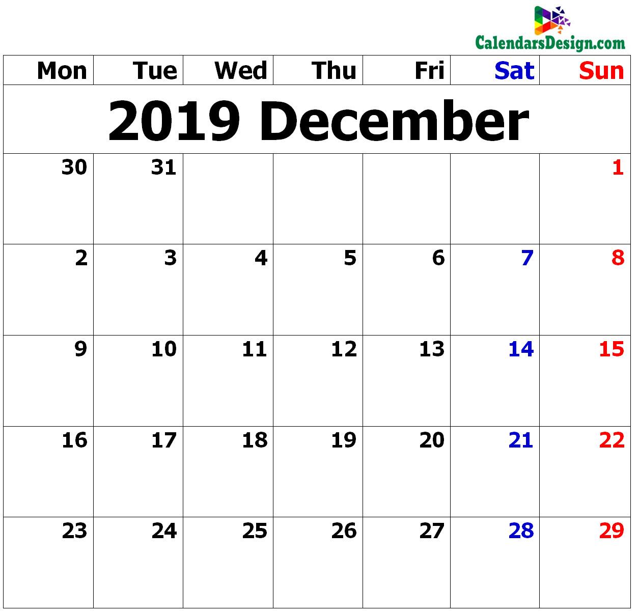 December Calendar 2019 in Excel Format
