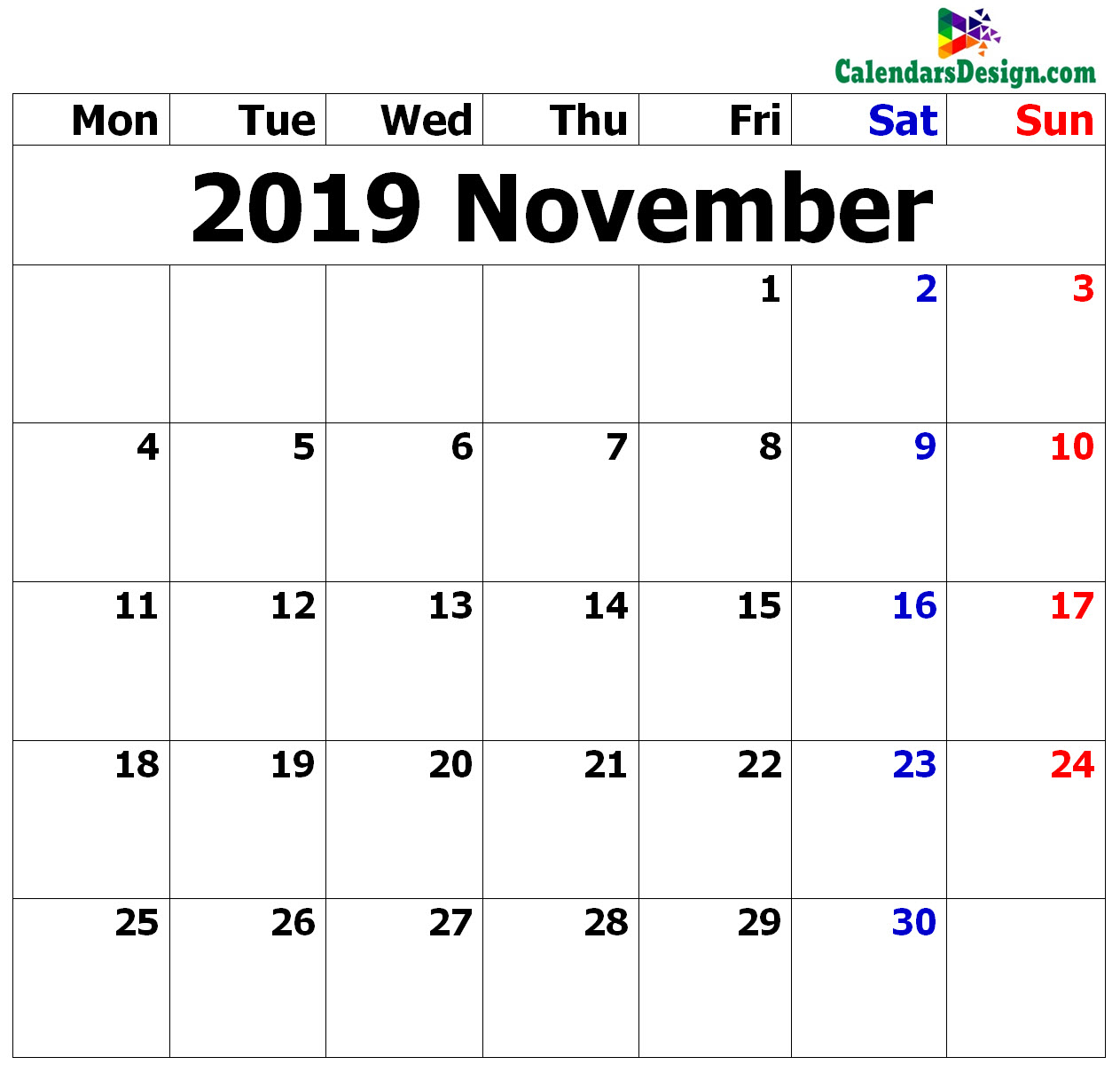 November Calendar 2019 in Excel Format