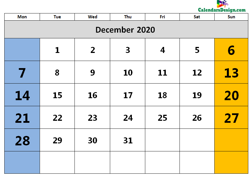 2020 December Calendar Holidays in Word