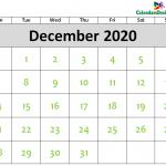 2020 December Calendar Printable Template