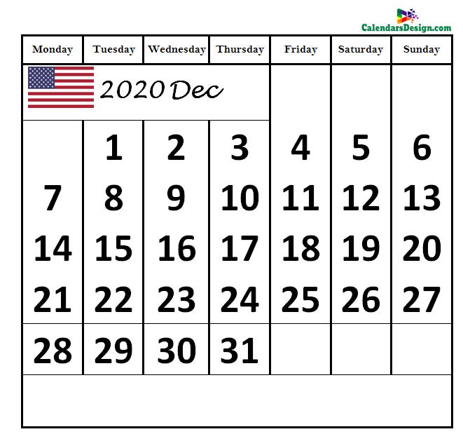 2020 December Calendar US