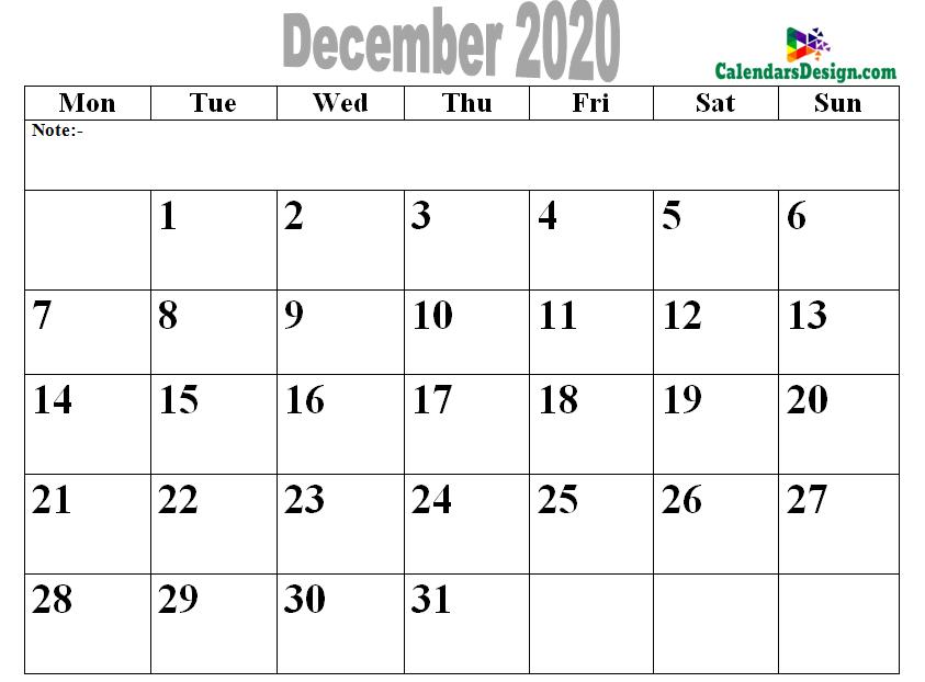 2020 December Printable Calendar PDF