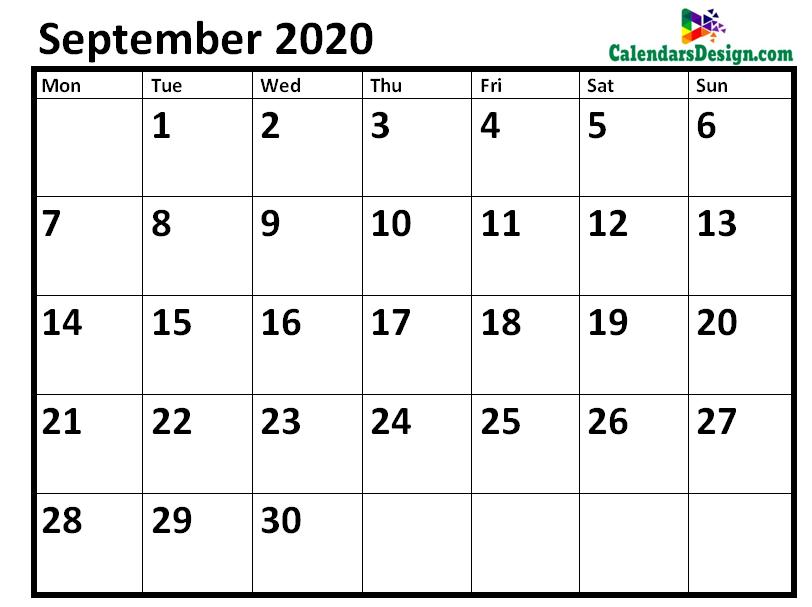Blank September 2020 Calendar