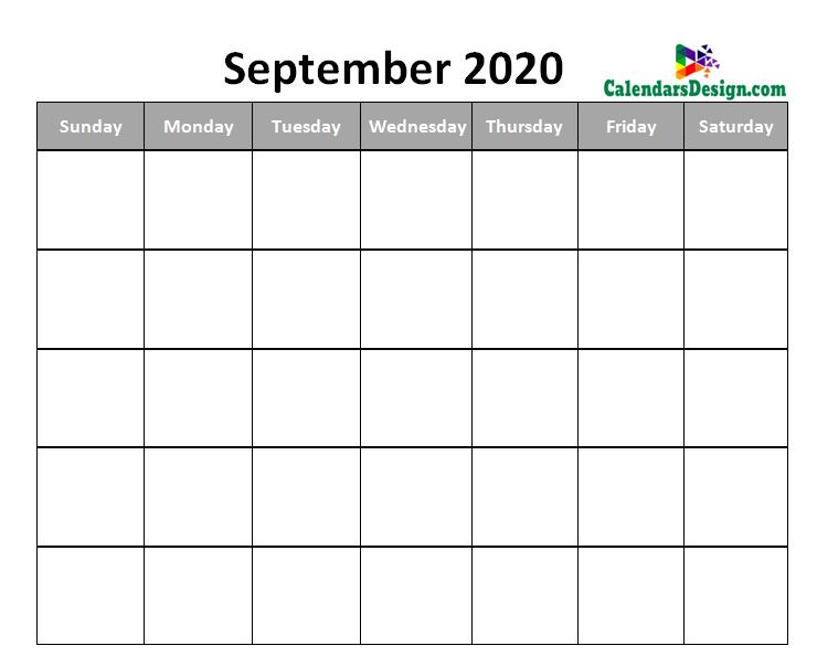 Blank September Calendar 2020 Template