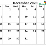Calendar for December 2020 Excel to Print