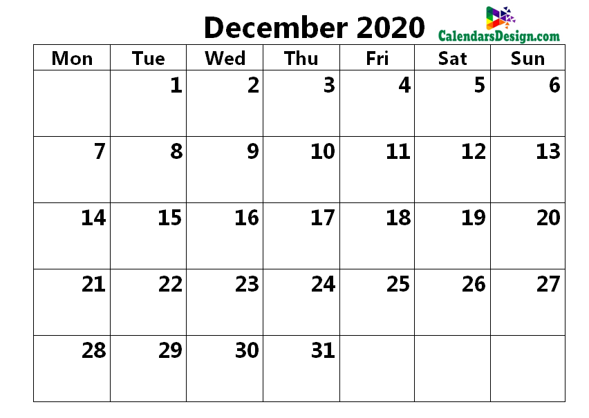 Calendar for December 2020 Excel to Print