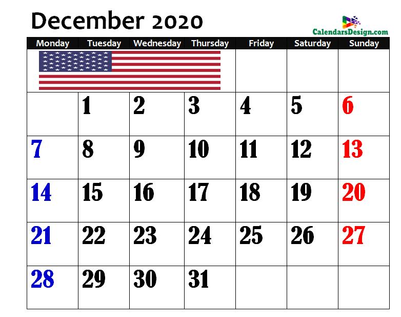 Calendar for December 2020 US