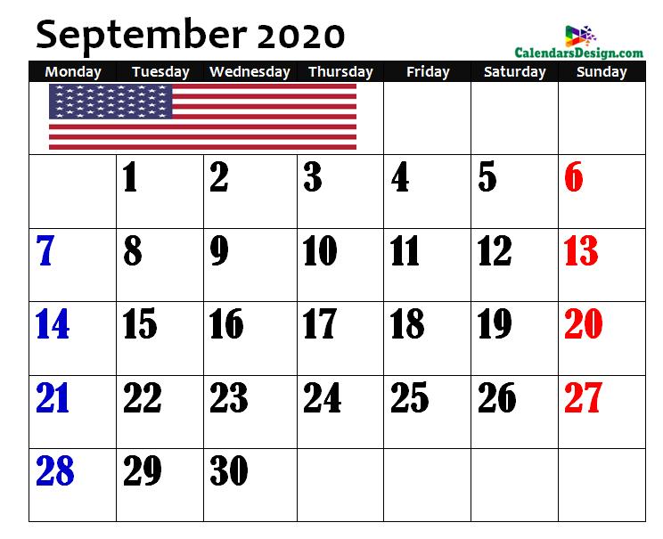 Calendar for September 2020 US