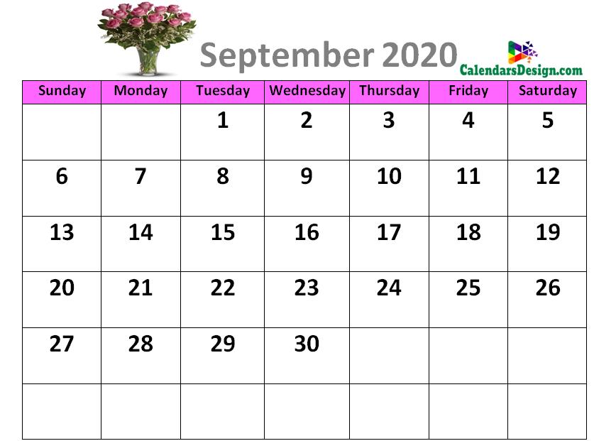 Cute Calendar for September 2020