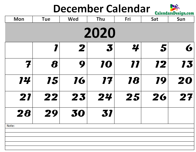 December 2020 Calendar Blank Template